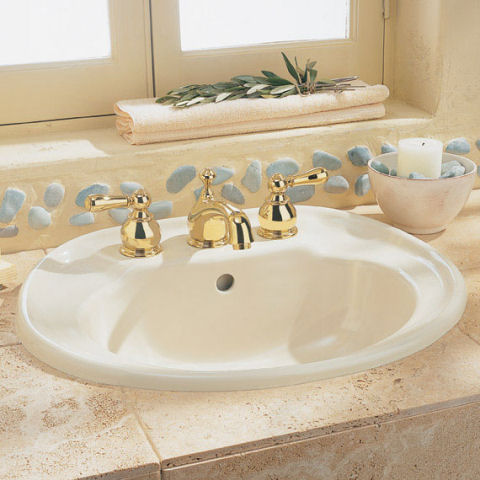 American Standard 0293.008.020 Standard Collection Self-Rimming Bathroom  Sink in White